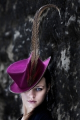 Louise Pocock Millinery felt riding hat with pheasant feather by